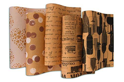 HRB Sortimente schönes bedrucktes Packpapier, 10 Rollen a 2m (Serie 4, 10 Rollen)