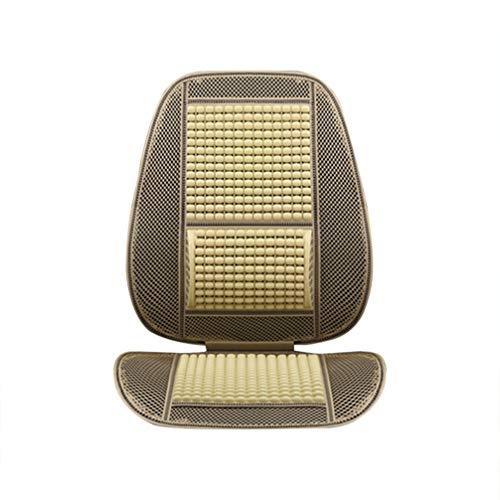 VOSAREA Auto Sitzauflagen Universal Vordersitz Auflage Auto Holz Perlen Sitzaufleger Sitzkissen Sommer Atmungsaktiv Bequem Autositzbezug Beige