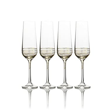 Mikasa Electric Boulevard Gold Champagne Flute, 8-Ounce, Set of 4