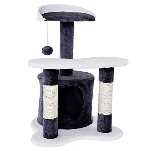 Dibea KB00140 Rascador para Gatos, Altura 65 Cm, Árbol Escalador Arañar Juguete Color Gris / Blanco