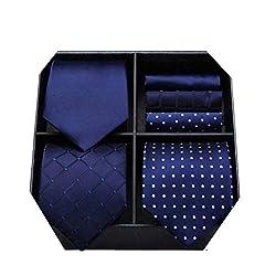 Idea Regalo - HISDERN Lotto 3 PCS Cravatta da uomo Polka Dot Check Stripe tinta unita Festa di nozze Fazzoletto Cravatta e fazzoletto - Set multipli
