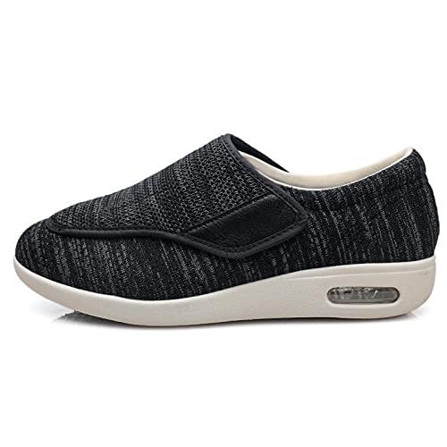 Velcro CóModa Artritis Edema Zapatos Hinchados,Zapatos DiabéTicos Respirable Zapatillas-Ceniza Oscura_36,Zapatillas DiabéTicas Zapatos Extra Anchos