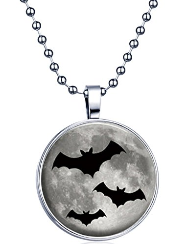 Yumilok Halloween Bat Glow in The Dark Round Luminous Pendant Alloy Resin Locket Necklace for Women/Men/Children, Fluorescent Blue