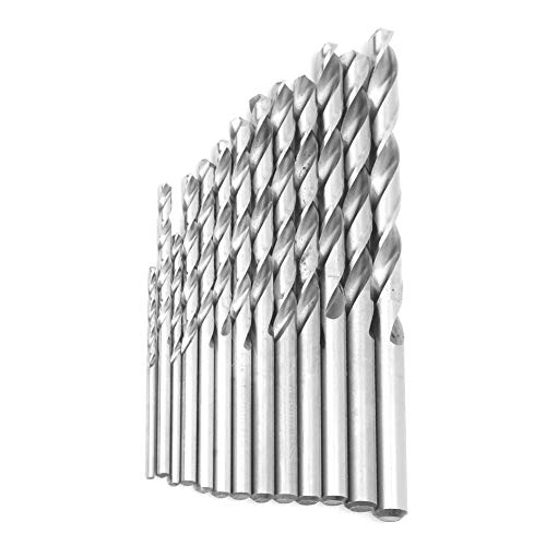 13Pcs Drill Bit Set, Twist Drill Bit Set, Full Ground White High Speed Steel Straight Shank 1.5mm‑6.5mm, with Has Good Applicability, Stability, High Hardness and Wear Resistance