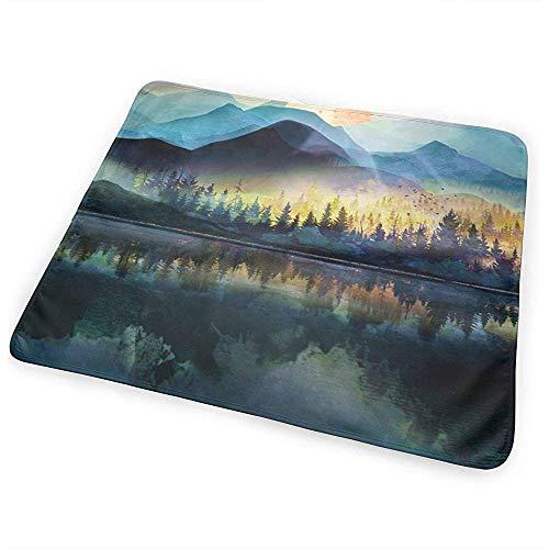Matelas À Langer,Mountain Lake Under Sunrise Fashion Print - Tapis À Langer Pour Garçons Et Filles 65 * 80CM