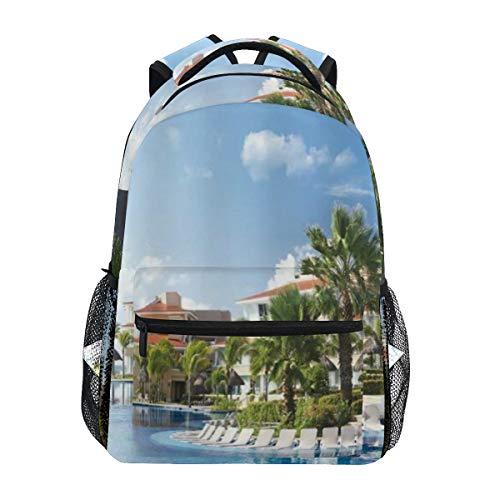 KASMILN Schultaschen,Ozean Sommer Sunny Resort Seagull Flying über Feiertags Landhaus Gazebo Palmen Swimmingpool Himmel,Rucksäcke für Männer und Frauen