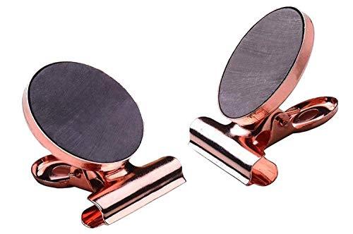 AdorabFruit Clip 2 Stück Kühlschrankmagnet Haken Clips, Starke magnetische Clips mit Kratzfest for Notizen, Kühlschrank, Büro (Rose Gold) (Color : 31mm)