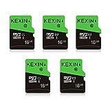 KEXIN 16GB TF Tarjeta de Memoria Micro SD de 16 GB MicroSDHS C10 hasta 70 MB/s, Tarjeta Externa UHS-1 Class 10 para Cámara Deportiva, IPC Cámara, Smartphone,Drone [5 Pack * 16GB]