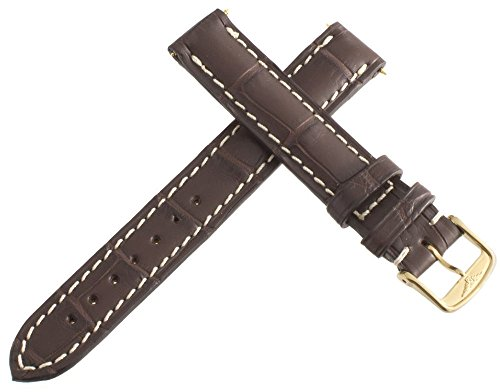 Longines marrone genuino cuoio Watch Band fibbia dorato 14 mm