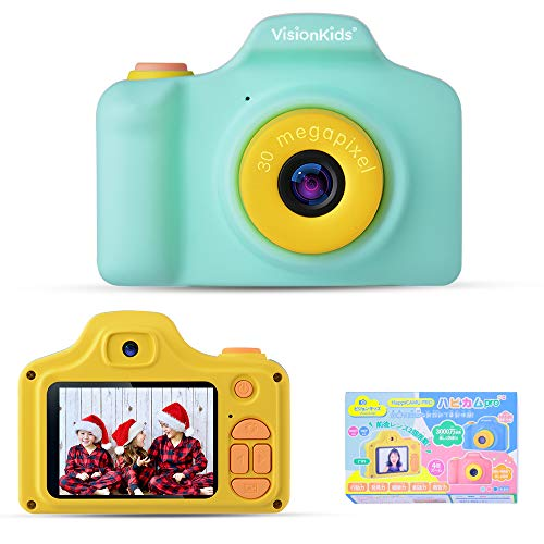 VisionKids HappiCAMU Pro ハピカムブロ 子供用デジタルカメラ 前後二つレンズ搭載 3000万画素 録画 1080P 可愛い プレゼント USB充電 日本語説明書付き グリーン JP090