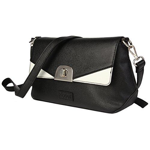 Kadell Frauen Leder Schultertasche Crossbody Geldbörse Mode Klappe Tasche mit abnehmbarem Armband Schwarz