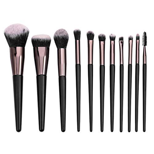 Pixnor 11 Pcs Pinceau de Maquillage Ensemble Nylon Poils Manche en Bois Portable Fard à Joues Poudre Maquillage Outils pour Filles Femmes