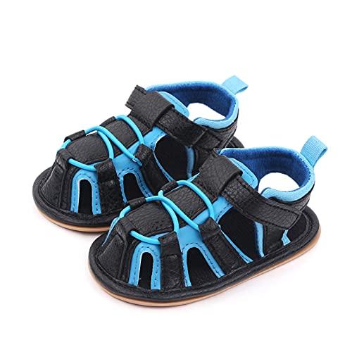 Leyeet Sandalias para bebé con suela antideslizante y cierre de verano para niños de 0 a 1 año