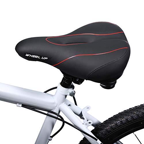 Asvert Fahrradsattel Mountain Mit Rücklicht Fahrradsitz Groß Extra Komfort Rennrad Gefedert Ergonomisch für Herren Damen MTB Road City Fahrrad Cycle Trip Biker Geschenk(Schwarz rot)