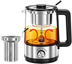 1L 600W Electric Tea Kettle with New Tea-brewing Method, Dual Boiling Modes with Basket and Infuser, Auto-Shutoff and Boil Dry Protection