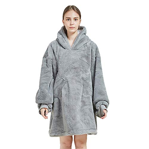 NXYJD Lazy Blanket Hooded Pullover Sweater Casual Warm Pajamas One-piece pajamas and bathrobe (Color : A)