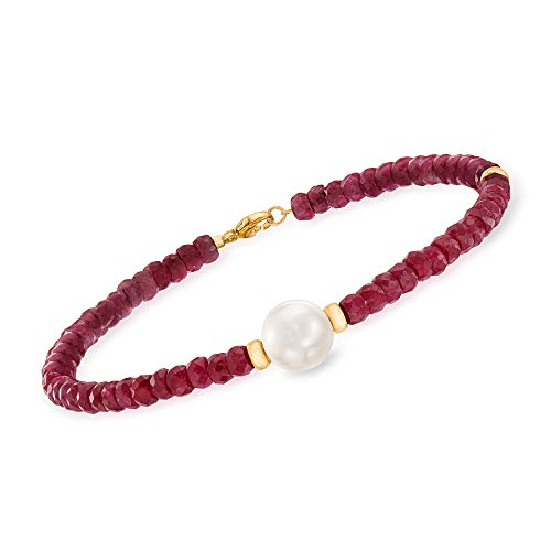 Ross-Simons 26.00 ct. t.w. Beaded Ruby Bracelet With 9-10mm Cultured Pearl in 14kt Yellow Gold For Women 7.25, 8.25 Inch