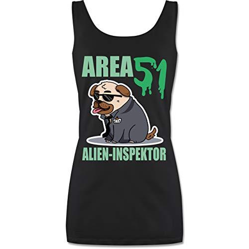 Nerds & Geeks - Area 51 Alien Inspektor Mops - S - Schwarz - Area51 - P72 - Tanktop für Damen und Frauen Tops