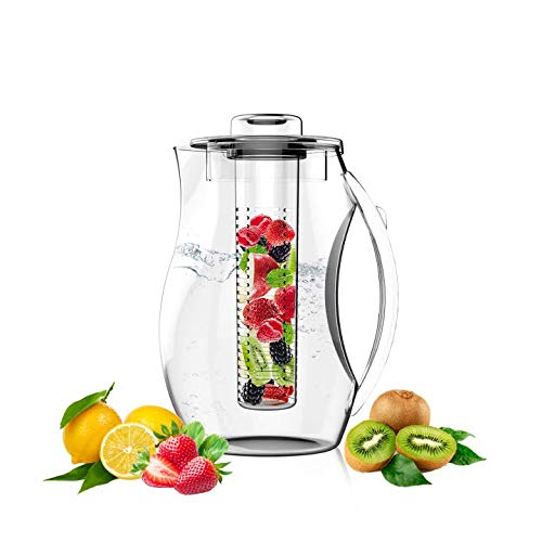 Water Pitcher Fruit Infuser With Lid for Flavored Water 2.9 Quart Bottle, Includes infuser rod and Ice Core Rod, BPA-Free Plastic, Great For Cold iced Tea, Fruit, Herbs, Sangria, Margarita by GHI