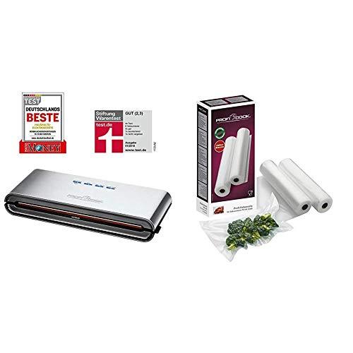 ProfiCook PC-VK 1080 Edelstahl-Vakuumiergerät, Lebensmittel bleiben vakuumiert bis zu 8x länger frisch & 2 Folienrollen, je 28 cm x 6 m, geeignet für PC-VK 1133/1080/1115/1134/1146