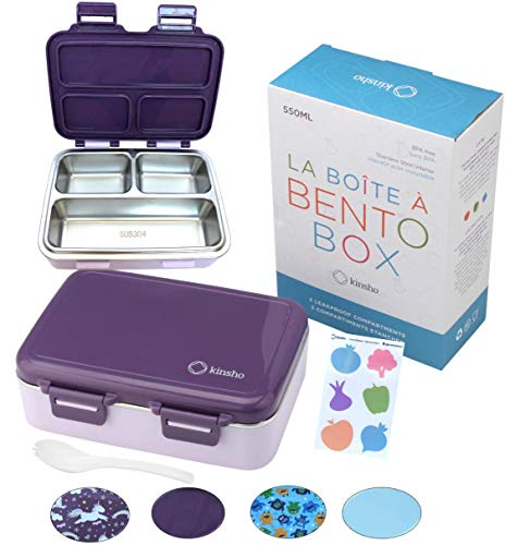 Stainless Steel Bento Insulated Lunch Box for Kids Toddler Girls Eco Metal Portion Sections Leakproof Lid Pre-School Kid Daycare Lunches and Snack Container Ages 3 to 5 Purple