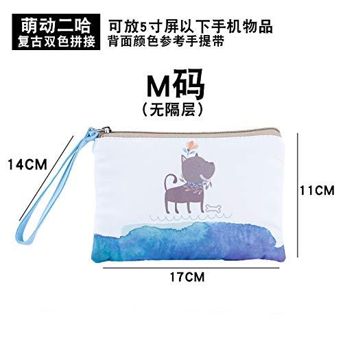 Sac cosmétique de dessin animé petit portable simple chiffon simple sac à main mignon sac de rangement cosmétique sac de paon bleu