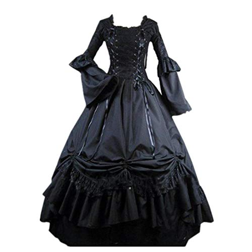 Loli Miss Womens Square Collar Lace Up Gothic Lolita Dress Ball Victorian Costume Dress S Black