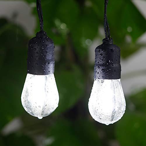 Luces LED al aire libre, 25 días blanco inastillable, bombillas LED de bajo voltaje, conectables, interiores y exteriores, luces de festón para Navidad, boda, jardín, patio, cafetería, etc.