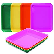Activity Plastic Tray - Art & Crafts Organizer Tray, Serving Tray, Great for Crafts, Beads, Orbeez Water Beads, Painting (Set of 4 Colors - Pink, Yellow, Green, Orange)