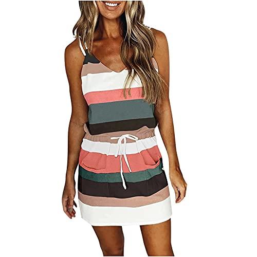 Iugvhana Vestido de verano con cuello en V, sin mangas, correa de espagueti, con cordón y bolsillo, M, A-verde