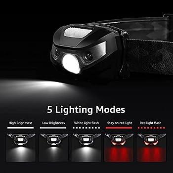 LE Lampe frontale rechargeable, légère avec feux d'avertissement rouges, 5 modes d'éclairage, étanche, convient pour cyclisme, course à pied, camping, randonnée, pêche, etc. Câble USB inclus