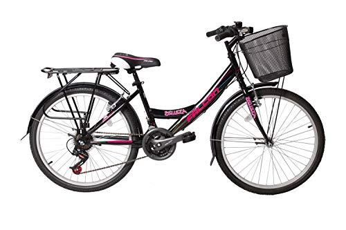 FALCO 24\' Zoll Fahrrad City Bike Mädchen Fahrrad Kinderfahrrad 21 Gang RH ca.45 cm STVO, Farbe:Schwarz