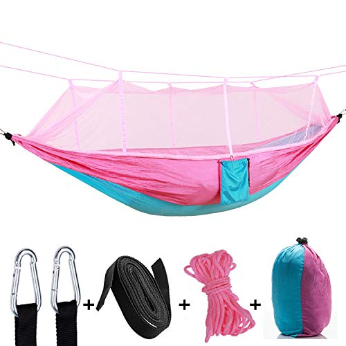 ZYLASTORE Outdoor Parachute Cloth Hammock with Mosquito Net Ultra Light Nylon Double Military Green Camping Air Tent 2 Straps 2 Carabiner,Pink Spell Blue