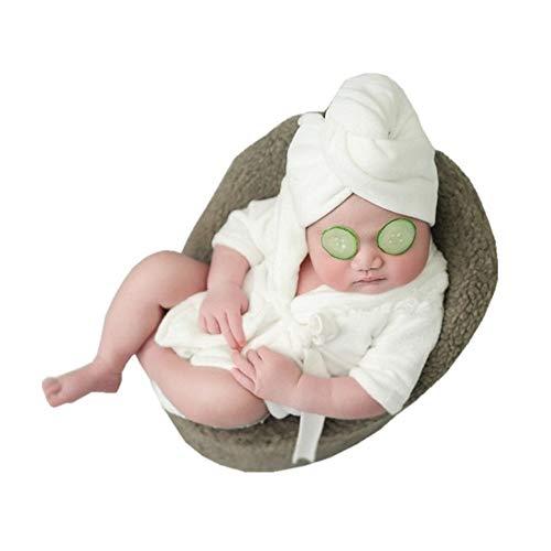 Feixunfan - Ropa de fotografía para recién nacido, accesorios de fotografía para recién nacido, accesorios para sesiones de fotos, bufandas, albornoces, 2 juegos de disfraz para recién nacido, para fotografía de bebé, algodón, Rosa, Small