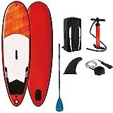 Stand Up Paddleboarding Soporta 209 LBS Tabla Sup Hinchable Ultraligera con Paleta de Fibra de Vidrio Ajustable Tablas de Surf para jóvenes y Adultos (Color : Red, Size : 265 * 75 * 10cm)