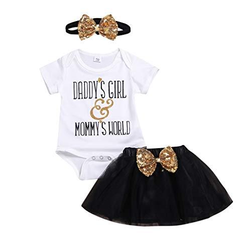Snakell Mädchen Kleider Neugeborenes Baby Kleidung Mädchen Brief gedruckt Strampler + Tüll Bogen Pailletten Rock + Haarband Outfit Sets Baby Kleider Kurzarm Sommerkleid