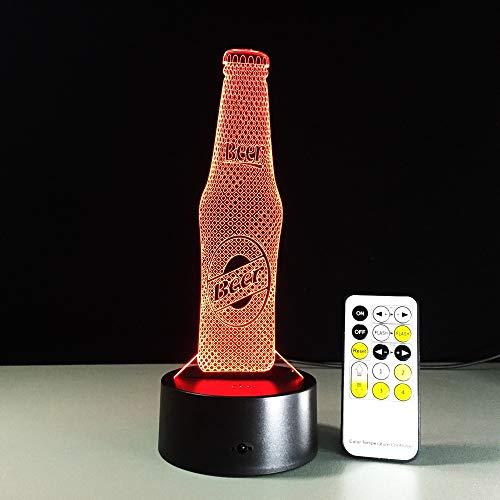 Novedad Botella de cerveza Diseño Animación 3D Lámpara de noche Panel de acrílico Control remoto Mesa táctil Luz Café Bar Decoración Regalos
