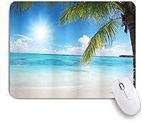 ZOMOY マウスパッド 個性的 おしゃれ 柔軟 かわいい ゴム製裏面 ゲーミングマウスパッド PC ノートパソコン オフィス用 デスクマット 滑り止め 耐久性が良い おもしろいパターン (ココナッツパームクリスタルオーシャンの澄んだ空と夏の熱帯の楽園ビーチ)