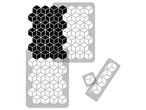 Plantilla geométrica reutilizable de plástico para pared // 65 x 95 cm // Bloques de tambaleo // Plantilla de patrón repetitivo sin costuras