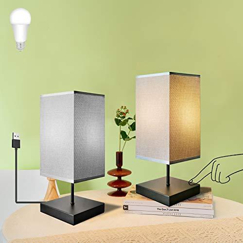 USB Lámpara de Mesa Táctil, GLUROO Lampara de Noche Cuadrado con 2 Bombillas LED E27 Regulable para Dormitorio, Estudio, Habitación de Bebé y Cafetería, Pack de 2 Unidades