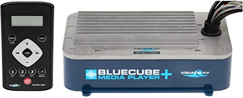 Aquatic AV AQ-BC-5UBT Bluecube+ Hide-Away Marine Stereo; Supports Bluetooth, iPod/iPhone, USB & MP3 Devices; Device Charging Via USB; FM Radio with Preset (US & Euro); Handheld Remote Control Included