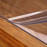 laro Tischfolie Tischdecke Transparent Durchsichtig Abwaschbar Garten-Tischdecke Tischschutz-Folie PVC Plastik-Tischdecken Wasserabweisend Eckig 2 mm Dicke Meterware, Größe:100x200 cm - 5