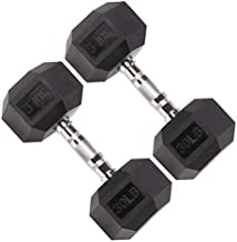 KHRS Barbell Coated Hex Dumbbell Weights with Metal Handles, Pair/Single Heavy Dumbbells Weight 5/10/20/30/40/50 pounds (30, A Pair)