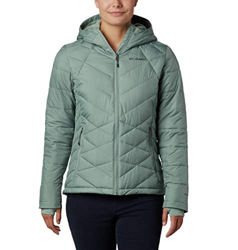 Columbia Women's Heavenly Hooded Water Resistant Insulated Rain Jacket, Light Lichen, Large
