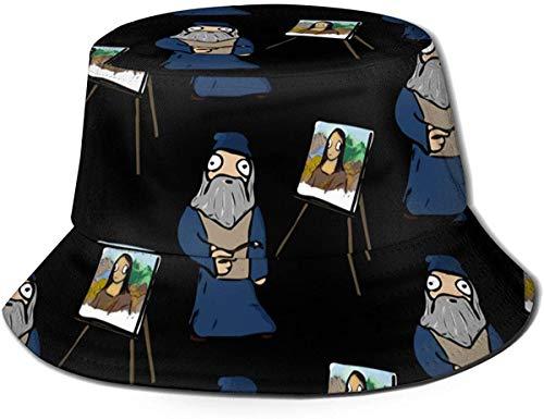 Trushop Unisex Leonardo Da Vinci Eimer Hut Sonnenhut Gedruckter Fischer Packbarer Reisehut Mode Outdoor Hut