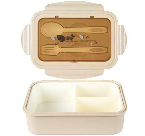 MEIXI Fiambrera Compartimentos, Fiambrera Infantil, Caja de Bento con 3 Compartimentos y Cubiertos,...
