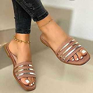 Ladies Slippers Beach Summer Shoes Bling Gold Female Flat Slides Outdoor Women Shoes Casual Sandals Plus Size personality sandal (Color : Brown, Shoe Size : 36)