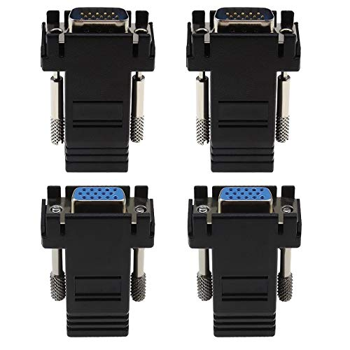 2 unids VGA macho a RJ45 hembra y 2 unids VGA hembra a RJ45 hembra Ethernet adaptador convertidores extensores para transmisión de señal de vídeo