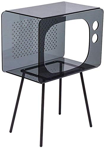 FHW Beistelltisch Nacht Ecktisch Acryl Multifunktionale Wohnzimmer Sofa Seite EIN Paar Quadratcouchtisch Nachttisch Kaffetisch (Color : Gray, Size : 40.5 * 23.5 * 58.5cm)