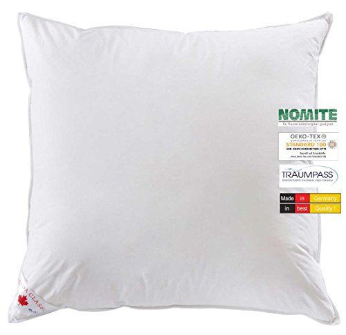 wohnTRAUM 24 Kopfkissen Komfort - Made in Germany - 85% Federn 15% Daunen - 1.000 g -Öko-Tex-100, NOMITE, Traumpass 80x80 cm weiß